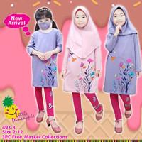 Baju Muslim Anak Perempuan Little Pineapple Tunik set Bunga Pink Ungu