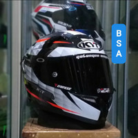 Helm KYT K2rider diamond white paket ganteng k2 rider dark