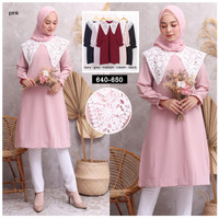 BLOUSE TUNIK WANITA FASHION MUSLIM - 650 - pink salem