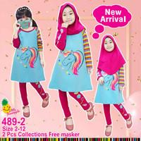 Baju Muslim Anak Perempuan Little Pineapple Tunik set Unicorn Rainbow