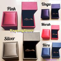 Kotak Anting / Kotak Cincin Tempat Perhiasan Mewah Kulit Premium Ungu