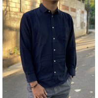 Kemeja GAP Cozy Twill Standard Fit Flannel Shirt Navy Blue Original