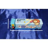 Tempat Pensil Kaleng Motif BUS anak - anak Plus Rautan [ 1 PCS ]