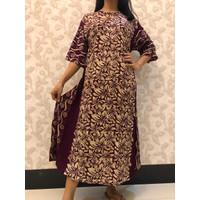 Daster Batik Pekalongan/ Baju Tidur Wanita/ Ungu Coklat