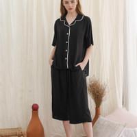 Kalla set in Basic Black - Sleepwear / Piyama Baju Tidur Rayon by RAHA
