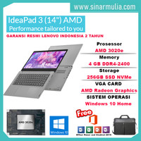 Laptop Lenovo Ideapad Slim 3 AMD 3020e 4GB 256GB SSD 14 inch WIN10+OHS
