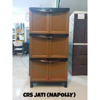 Lemari Plastik CRS Jati susun 3 (Napolly)