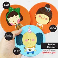 Tatakan Gelas Mug Tatakan Cangkir Rubber Coaster Karakter Lucu (3pcs)