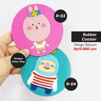 Tatakan Gelas Mug Rubber Coaster Motif Karakter Kartun Lucu (2pcs)