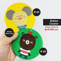 Tatakan Gelas Mug Rubber Coaster Karakter Kartun (2pcs)