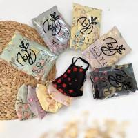 Stripe japan flower set Jilbab segi empat set masker original by koyuh