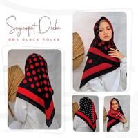 Segiempat Deeka Red Black - Hijab Jilbab Polka