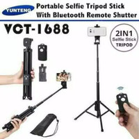 Tongsis Bluetooth Yunteng VCT 1688 3 IN 1 Tripod Selfie Stick Remote