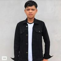 Jaket jeans pria warna hitam merk broadam uk.ML XL XXL