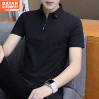 Elyon Polo Shirt Resleting Kaos Kerah Baju Pria Pendek Hitam Polos