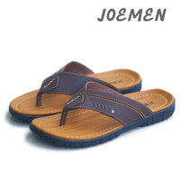 Sandal Kulit Joemen Sandal Japit Sandal Slop Pria Original Brand Resmi - S01 Coklat Tua, 39