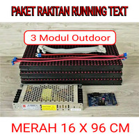 DIY PAKET RAKITAN RUNNING TEXT P10 MERAH OUTDOOR 16 X 96 CM