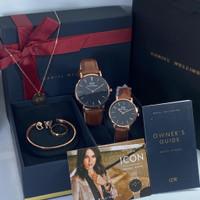 Jam tangan couple tali kulit free set Fashion jam Pria wanita WD