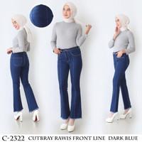 Celana Jeans Wanita Highwaist Cutbray Front line Kaki Rawis 27-30