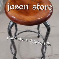 Kursi kayu kaki besi hitam 60 cm/Bangku 60 cm (kaki hitam)