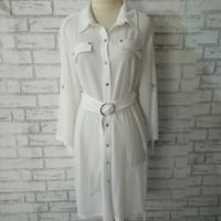 dress kemeja branded big size putih/kemeja putih branded big size