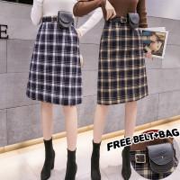 831 Irene Skirt/Korean Midi Skirt/Rok Midi Motif Kotak