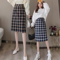 832 Hwasa Skirt/Korean Midi Skirt/Rok Midi Motif Kotak Kotak/Rokwanita