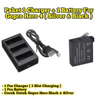 Charger 3 Slot Gopro Hero 4 Dan Battery Baterai Gopro Hero 4 Hero4