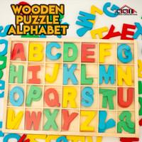 Mainan lego puzzle huruf kayu alphabet untuk anak anak