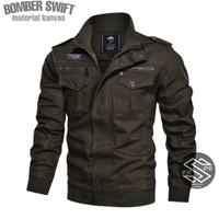 jaket pria kanvas jacket Bomber jaket Sensor hitam navy army coklat