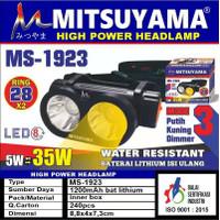 Senter Kepala Putih Kuning Dimmer Cas Headlamp LED Mitsuyama MS-1923