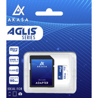 Akasa Micro SD 64 GB Aglis Series U3 Memory Card (Hyper Speed)