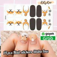 nail stickers shiba inu / nail stickers dog / sticker kuku shiba inu