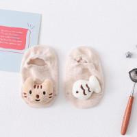 [GSB] Kaos Kaki Bayi Boneka Timbul Karakter 0-6 bulan Anti Slip - kucing cream