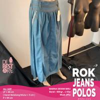 Rok Span Sepan Panjang Jeans Denim Wanita Kualitas Premium Plisket