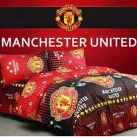 Bedcover Set Jaxine Sprei Katun Motif Manchester United Size Double