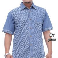 Kemeja batik fashion pria terbaru lengan pendek MY3