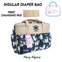 Diaper Bag Large Insular Original Import Tas Perlengkapan Bayi Kado - Navy Alpaca