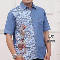 Kemeja Batik wayang fashion pria terbaru lengan pendek MY1
