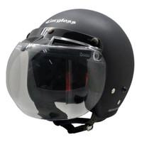 Paket Helm cargloss Retro Black Doff + Visor Bogo Cembung BG-06 Clear