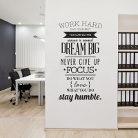 Sticker Stiker Wallpaper Dinding Work Hard Living Room Decoration - WH