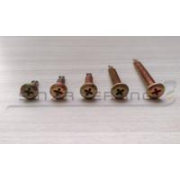 Wafer head screw #10x25 - Sekrup roofing 2.5 cm kuning obeng 100pcs