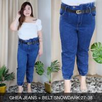 Ghea Jeans+BELT JEANS WANITA PANJANG PINGGANG KARET SUPER JUMBO 36 38