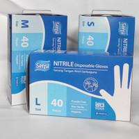 sensi nitrile gloves powder free sarung tangan Medis 1box isi 40pcs - S