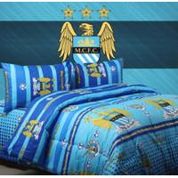 Bedcover Set Jaxine Sprei Katun Motif Bola Manchester City Size Single