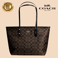 (100% ORIGINAL) Tas COACH Shoulder Tote Bag Signature Brown Fullset
