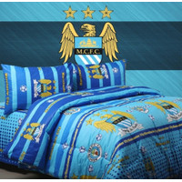 Bedcover Set Jaxine Sprei Katun Motif Bola Manchester City Size Double