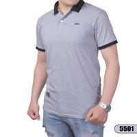 Polo shirt pria polos / kaos kerah beda warna - abu muda, M