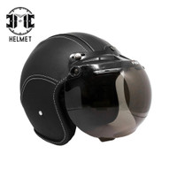 Helm Bogo Retro JMC Full Leather Black