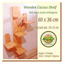 Rak susun serbaguna kayu 60x36 cm rak kayu susun kaktus tanaman rumah